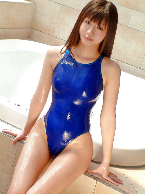 wet Japanese schoolgirl in tight swimsuit